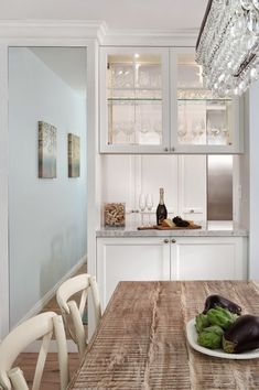 See Through Cabinets, Contemporary, dining room, Benjamin Moore Lookout Point, Lauren Shadid Architecture <3