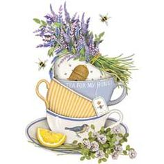 Lavender Teacups Mary Lake-Thompson