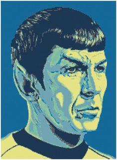Spock - a Counted Cross Stitch Pattern Star Trek Cross Stitch, Cross Stitch Boards, Cross Stitch Bookmarks, Cross Stitch Embroidery, Cross Stitch Patterns, Watercolor Face, Star Trek Original, Star Trek Tos, Stitch 2