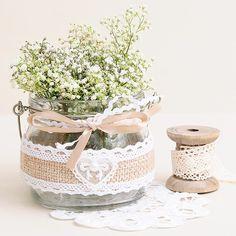 Tarro de cristal rustico con yute para flores #rustic #weddings #bodas #rusticas #flores #decoracion #decoracionbodas