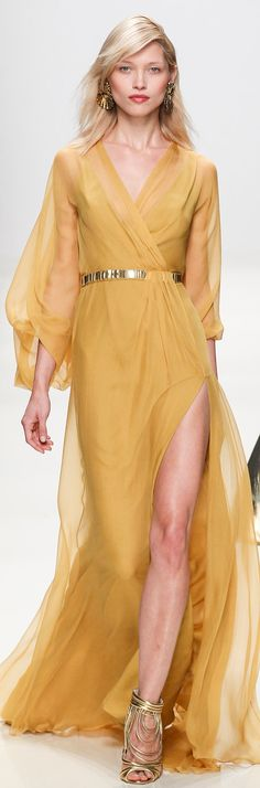 Mustard yellow semi-transparent flowing dress, Valentin Yudashkin Spring 2014 RTW