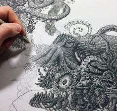 Artist draws millions of dots to form intricate pen drawings that tell a world of intriguing stories.