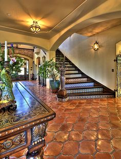 Mediterranean Staircase with Wall sconce, Rustica Tile and Stone - San Felipe Saltillo Pattern, specialty door, flush light (me: stairs! Hacienda Style Homes, Spanish Style Homes, Spanish House, Spanish Colonial, Spanish Revival, Hacienda Kitchen, Mexican Style Homes, Spanish Style Bathrooms, Mexican Hacienda