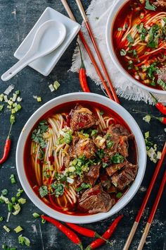 This spicy beef noodle soup recipe is surprisingly simple to prepare at home, and tastes even better than what you can get at a restaurant. It's perfect for cold weather. /thewoksoflife/