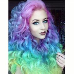 Mermaid hair color by Amy the Mermaid. Unicorn hair color Rainbow haircolor hotonbeauty.com