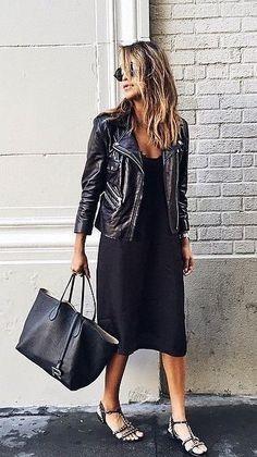leather jacket, tote bag, and a sleek black dress