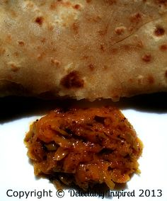 Sweet and Spicy Instant Mango Pickle served with Paratha