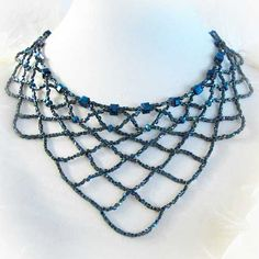 #Princess Length Blue Glass Bead and Crystal Bib #Necklace #handmade by @ThaddeusRose #Jewelry on #ArtFire