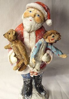 *SANTA ~ teddy and Raggedy Ann