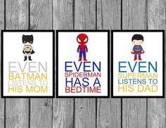"Superhero wall art/Boys bedroom decor/Set of 3/ 8""x10"" Prints by LittleMissAvery1 on Etsy"