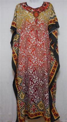 New-Hippie-Boho-Caftan-Kaftan-Kimono-Sleeve-Cocktail-Maxi-Dress-Plus-Size-Red