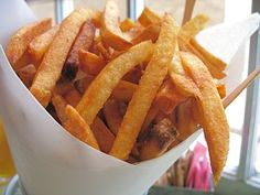 Enjoy perfect Pommes Frites by frying in beef fat- as long as it's organic beef fat they are very health- you need those saturated fats for health! http://optimumnutrition.wordpress.com/2012/07/20/pommes-frites/