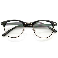 Optical Quality Horned Rim Clear Lens RX'able Half Frame Horn Rimmed Glasses - Brillengestelle Half Frame Glasses, Fake Glasses, Cute Glasses Frames, Vintage Glasses Frames, Lunette Style, Round Lens Sunglasses, Mirrored Sunglasses, Cycling Glasses, Fashion Eye Glasses