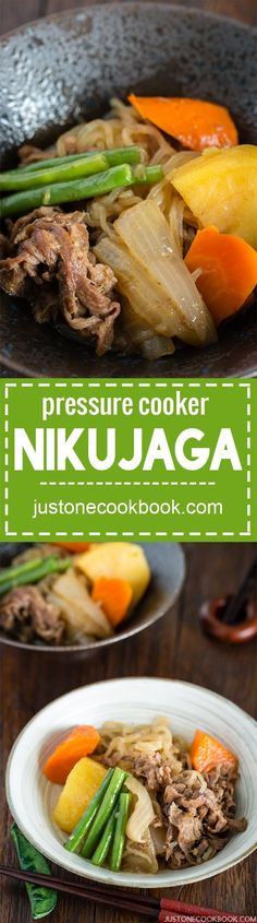 Pressure Cooker Nikujaga 肉じゃが (圧力鍋) - Looking for a well-balanced pressure cooker recipe? Try Nikujaga, a comforting Japanese home cooked dish, featuring sliced meat, vegetables & potatoes simmered in dashi broth. #japanesefood #asianrecipes #quickeasydinner #pressurecookermeals #instantpotrecipes | Easy Japanese Recipes at JustOneCookbook.com Using A Pressure Cooker, Instant Pot Pressure Cooker, Pressure Cooker Recipes, Pressure Cooking, Easy Japanese Recipes, Asian Recipes, Japanese Food, Chinese Recipes, Traditional Japanese
