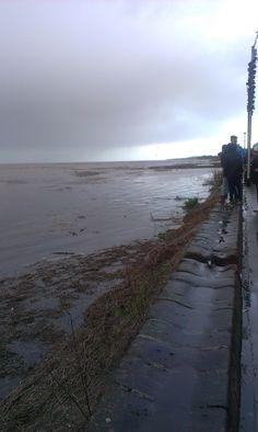 Parkgate, Frontage at High tide Jan 2014