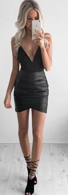 #whitefoxboutique #spring #Summer #outfitideas | Black Plunging Bodysuit + Dusty Road Skirt                                                                             Source