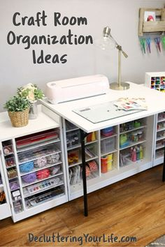I love craft room organization ideas and ideas for setting up my craft area in my bedroom / craft room combo. These are gorgeous ideas for any craft area to organize your craft supplies even if you're on a budget! Craft Room Desk, Craft Room Storage, Bedroom Storage, Storage Ideas, Tips And Tricks, Space Crafts, Decor Crafts, Craft Space, Design Crafts