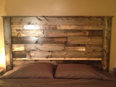 Handmade wooden bed frame and headboard by LivingRustic