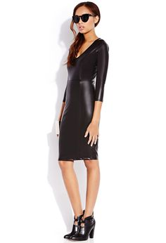 Sleek Faux Leather Midi Dress | FOREVER21 - 2000089990