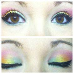 rainbow eyeshadow  makeup inspired by iheartmakeup92