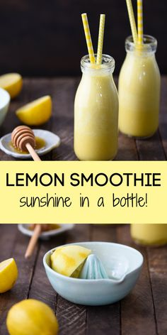 Smoothie (Sunshine in a Bottle!) - With Video! - Foxes Love Lemons - Sunshine in a Bottle Lemon Smoothie – A healthy way to jolt yourself awake on a dreary morning. Yummy Drinks, Healthy Drinks, Healthy Snacks, Yummy Food, Healthy Juices, Healthy Eats, Refreshing Drinks, Healthy Recipes, Delicious Smoothie Recipes