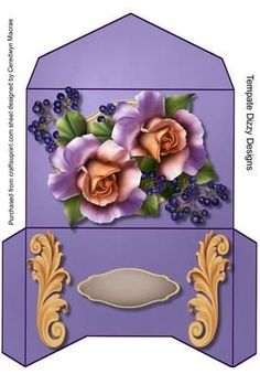 Lovely Gift Wallet Lilac Roses and Berrys on Craftsuprint designed by Ceredwyn… Diy Envelope Template, Gift Envelope, Envelope Design, Craft Items, Craft Gifts, Diy Gifts, Envelopes, Diy Arts And Crafts, Paper Crafts