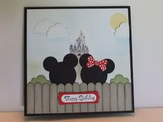 Hello Stampers and fellow Paper Crafters! One more Disney card to share. This request was for Mickey and Minnie in a landscape with cloud. Disney Birthday Card, Kids Birthday Cards, Minnie Birthday, Disney Scrapbook Pages, Scrapbook Cards, Mickey Mouse, Mickey Head, Disney Mickey, Punch Art Cards
