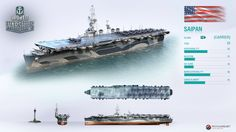 With Saipan joining the fleet later this month, it's time to brush up on her history! World Of Warships Wallpaper, American Aircraft Carriers, Navy Aircraft Carrier, Us Navy Ships, Sea Crafts, Nautical Art, Military Weapons, Submarines, Battleship