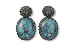 Hemmerle earrings, turquoises, white gold, silver, 0254.13