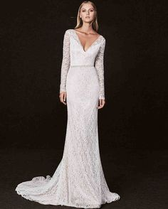 Victoria Kyriakides Fall 2017 Wedding Dress Collection   Martha Stewart Weddings – Long-sleeve V-neck mermaid wedding dress