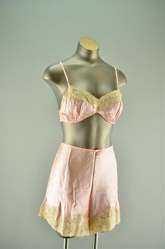 1930s silk bra and undies / Vintage lingerie / 30s peach brassiere  and tap shorts. $108.00, via Etsy.