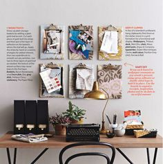 Desk idea using clip boards