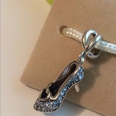 Authentic Chamilia Charm- Disney Cinderella's Slipper- Blue Swarovski Chamilia Jewelry Bracelets