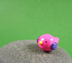 Colorful Little Bird - Hand Sculpted Miniature Polymer Clay Animal