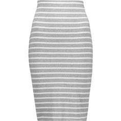 Bailey 44 Bianca striped stretch-jersey skirt found on Polyvore featuring skirts, saias, bottoms, jupe, light gray, bailey 44, elastic skirt, pull on skirts, light grey skirt and knee length skirts