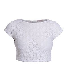 White Lace Crop T-Shirt, New Look