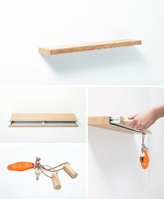 Hidden storage Bookshelves - Secret Drawer A Hidden Shelf Magnetically Locked Storage. How To Make Floating Shelves, Floating Shelf With Drawer, Hidden Shelf, Floating Shelves Bedroom, Floating Shelves Kitchen, Wooden Floating Shelves, Rustic Floating Shelves, Drawer Shelves, Hidden Storage