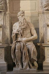 The Moses (c. 1513–1515) is a sculpture by the Italian High Renaissance artist Michelangelo Buonarroti, housed in the church of San Pietro in Vincoli in Rome. Commissioned in 1505 by Pope Julius II for his tomb, it depicts  the Biblical figure Moses with horns on his head, based on a description in the Vulgate, the Latin translation of the Bible used at that time.