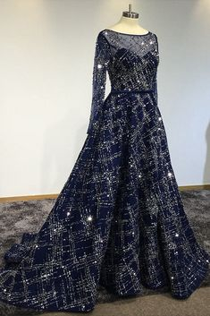 Navy Blue Sequins Tulle Long Arabic Evening Dress, Formal Prom Dress With Sleeves #promdress