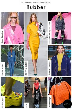 """Rubber """"100% Nitrile / Synthetic Rubber"""" read CALVIN KLEIN'S industrial-grade pencil dress. You'll never look at your mother's dishwashing gloves the same way again, with brands taking rubberized materials and molding them into unexpectedly chic silhouettes (like a pair of Balenciaga Crocs)."""