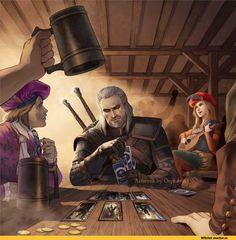 The Witcher,Ведьмак, Witcher, ,фэндомы,Orpheelin,Геральт,Witcher Персонажи,Лютик (Ведьмак),Присцилла,гвинт