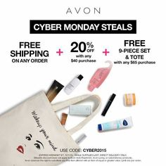 #CyberMonday #FreeShipping Free products with a Free bag! Come on over to my website www.youravon.com/mvilla