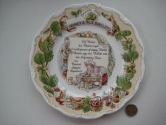 """ROYAL DOULTON BRAMBLY HEDGE 8"""" HONEY & NUT BISCUITS RECIPE  PLATE BONE CHINA"""