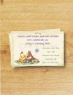 Classic Winnie the Pooh -DIY Printable Personalized Custom Birthday Invitation. $10.00, via Etsy.