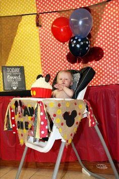 Mickey Mouse birthday high chair decor