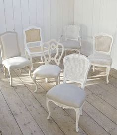 mix aqnd match ceremony chairs white | Mix and Match Vintage Chairs for kitchen and dining tables..