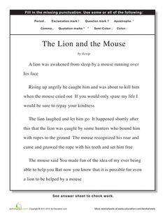 Worksheets The Lion And The Mouse Worksheets homeschool literature and activities on pinterest worksheets punctuation the lion mouse
