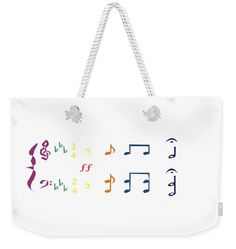 "Music Notes 1 Weekender Tote Bag (24"" x 16"") by David Bridburg.  The tote bag is machine washable and includes cotton rope handle for easy carrying on your shoulder.  All totes are available for worldwide shipping and include a money-back guarantee."