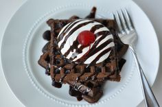 Chocolate waffles with a cake mix.