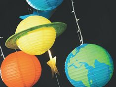 Diy Paper Lantern Planets Decor Idea with regard to Paper Crafts Lantern - Coloringside. Diy Solar System, Solar System Projects, Outer Space Theme, Outer Space Party, Paper Crafts For Kids, Diy Paper, Planet Decor, Lantern Craft, Paper Lantern Decorations